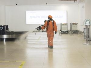 20 тысяч квадратных метров площадей продезинфицировали в аэропорте «Стригино»